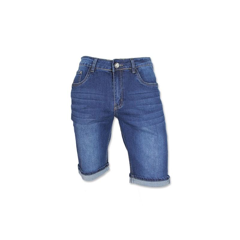 Korte Broek Heren Blauw.Edo Jeans Heren Short Stretch Blauw