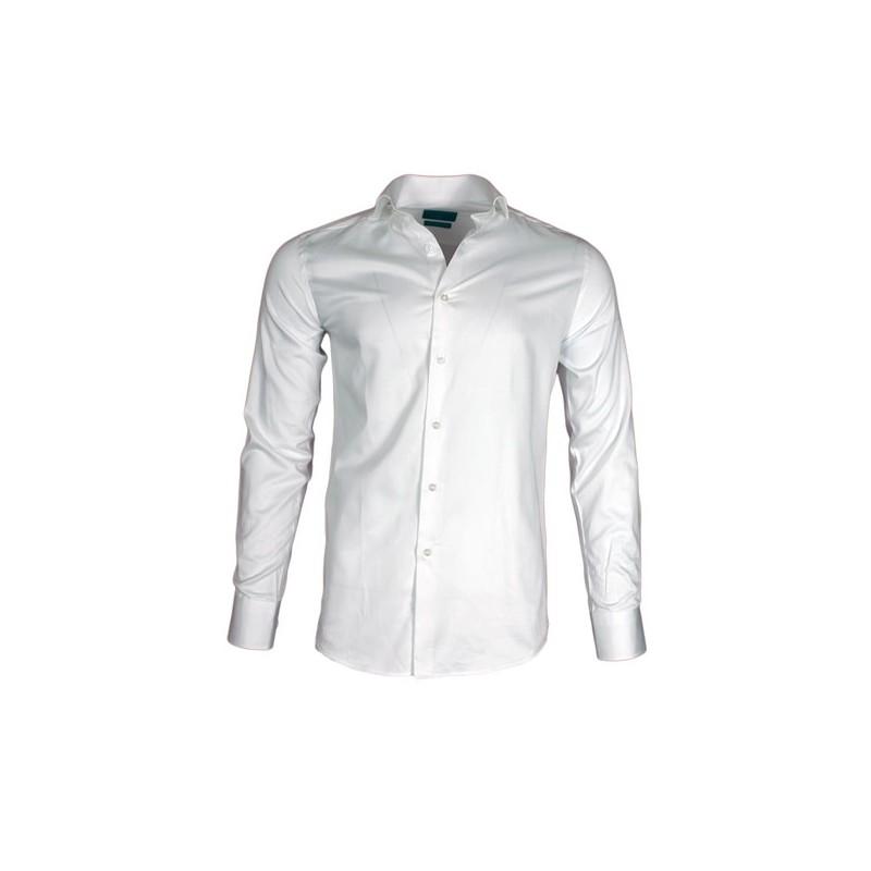 Heren Overhemd Wit.Gaznawi Heren Overhemd Enkele Kraag Wit