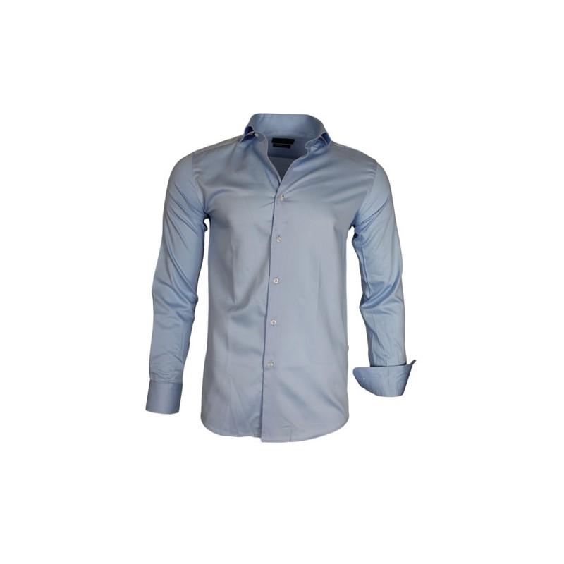 Overhemd Getailleerd Heren.Gaznawi Heren Overhemd Enkele Kraag Blauw